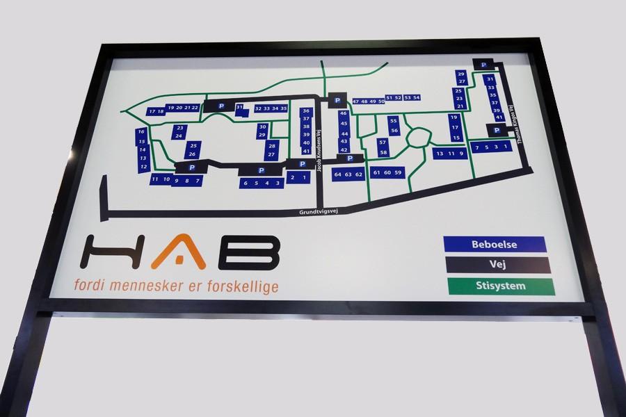 Henvisningsskilt - Vejvisnings-/oversigtstavle - til HAB