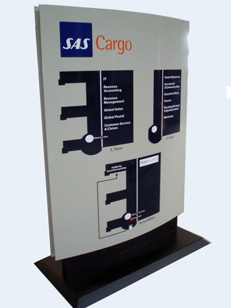 SAS Cargo - standerskilt med oversigtskort