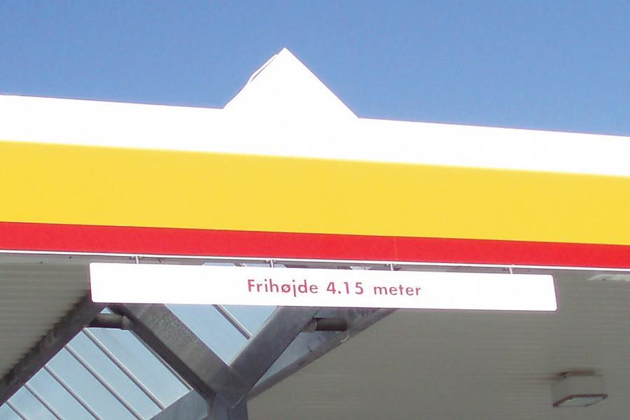 Højde markeringskilte i aluminium - til Shell express