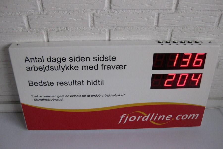 Ulykkesregistrering - Display til  Arbejdsulykker - Fjordline
