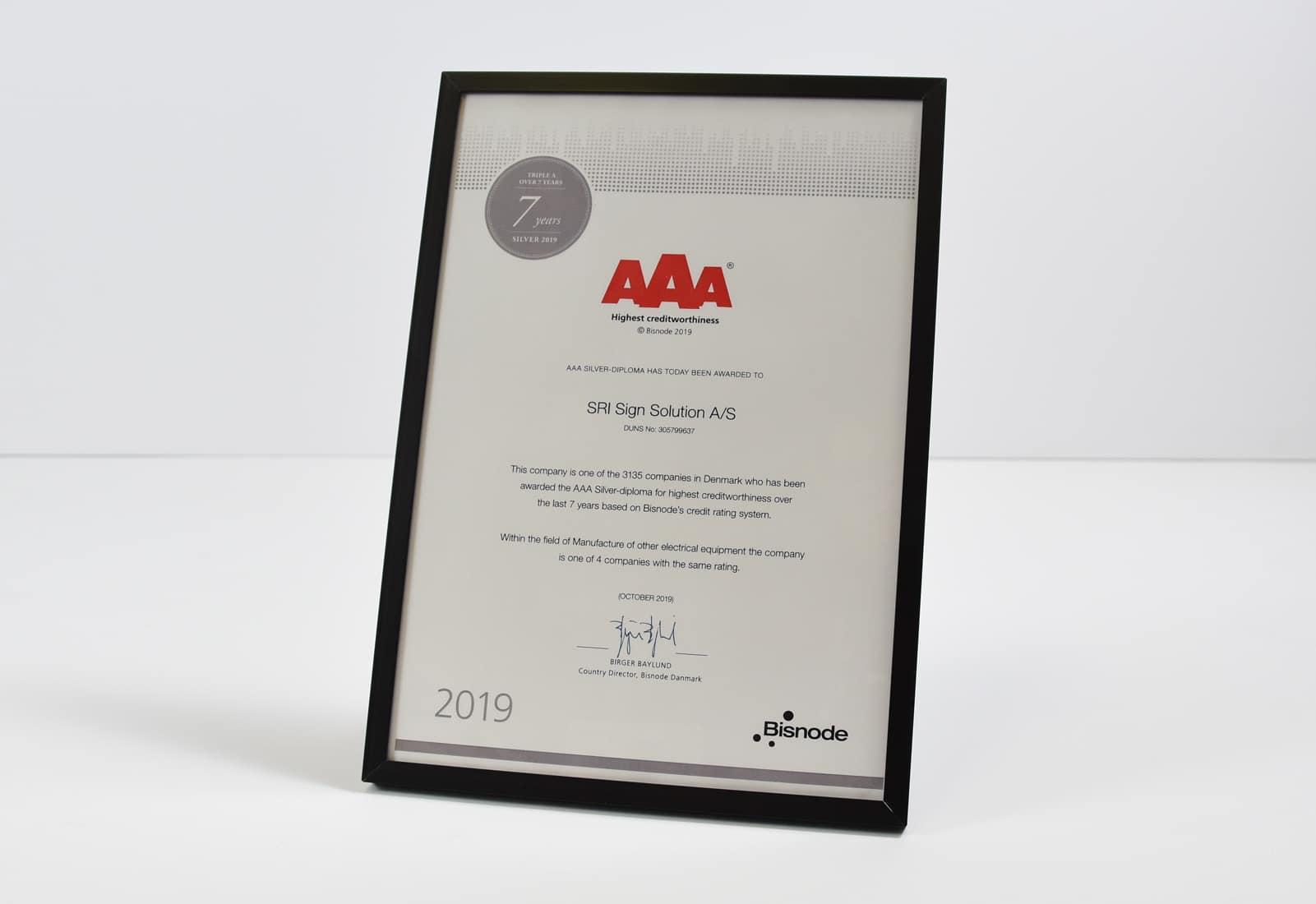 AAA diplom - nu 7 år - SRI Sign Solution A/S