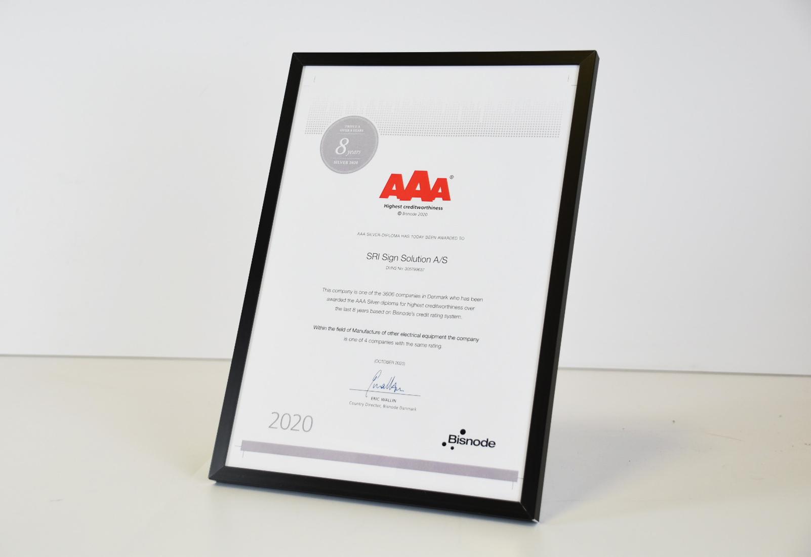 AAA diplom - nu 8 år - SRI Sign Solution A/S